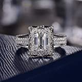 High-end Luxury Full Diamond Micro-Set 3A Square 2 Carat Cubic Zirconia Engagement Ring for Women (7)