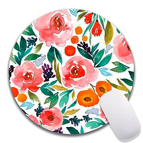Hokafenle Flower Round Mouse Pad, Watercolor Rose Floral Customized Premium-Textured Mouse Mat, Washable Mousepads with Lycra Cloth, Non-Slip Rubber Base Small Computer Mousepad With Design Φ7.9x0.12'