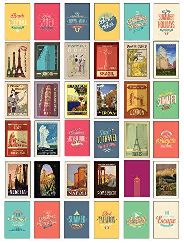 Retro/Vintage Travel Postcards - Set of 36 different designs Rome, Italy, France Paris Etc