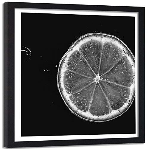 Foto Cuadro Marco Negro Abstracto Decoración Fruta Limón Cocina Negro 50x50 cm