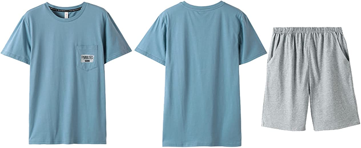 ft FENTENG Men Pajamas Set Short-Sleeved Sleepwear Set Cotton Large Size Thin Sleepshirt for Home Suit Summer
