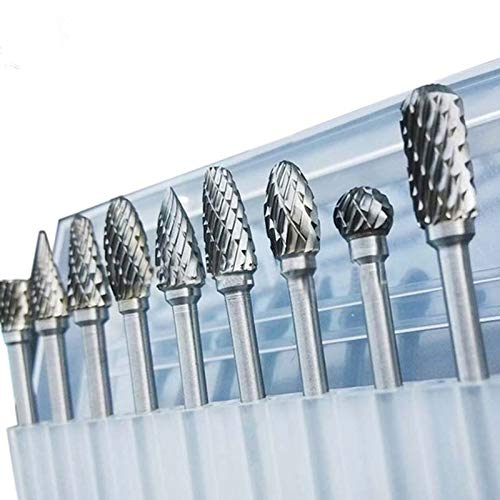 GREETING 10 Pieces/Set 1/8' Tungsten Carbide Burr Rotary Drill Bits Tools Cutter Files Set Shank Tool Kits P25