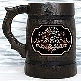Dungeon Master Beer Mug. Dungeon and Dragons Mug. Dungeon Master Mug. Gift for Boyfriend. D&D Gift. Dungeon Master Beer Stein. Best Gift. Wooden Beer Mug. Gamer Gift. Beer Tankard K161