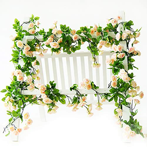 Rose Garland Artificial Rose Vine with Green Leaves 63 Inch Pack of 3 Flower Garland For Home Wedding Decor (champagne)