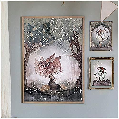 Canvas print,aquarel konijn jongen en meisjes cartoon engel canvas decoratie schilderij kunst poster kinderen babykamer muur- 40x60cm 30x40x2pcscm