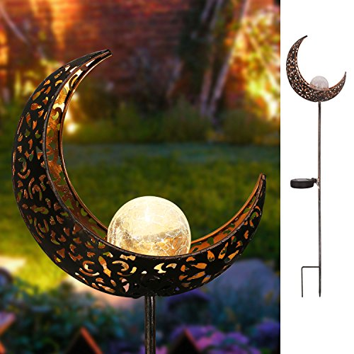 Homeimpro Garden Solar Lights Pathway Outdoor Moon Crackle Glass Globe Stake Metal Lights,Waterproof Warm White LED for Lawn,Patio or Courtyard (Bronze)