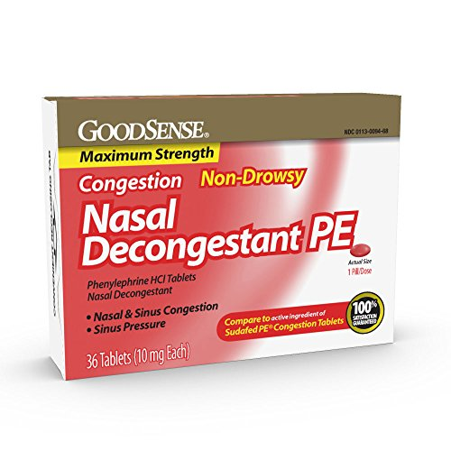 GoodSense Maximum Strength Nasal Decongestant PE, Phenylephrine HCl, 10 mg tablets. Nasal and Sinus Congestion, Sinus Pressure, 36 Count