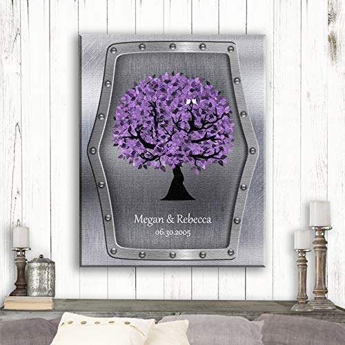 Personalized Gift For Same Sex Marriage Purple Tree on Silver Background Lesbian Marriage Gift on Wedding Day #1501 Canvas Print