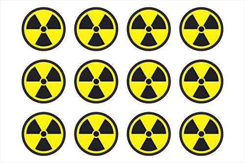 Radiation Nuclear Symbol Sheet of 12 Helmet, Hard Hat, Biker, Window, Bumper Sticker