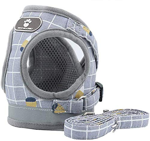SUNGROO小型犬 ハーネス かわいい 胴輪 ペット用 中型犬 猫 ハーネス リードセット 通気性 調整可能 可愛い 反射光 (XS, グレー)