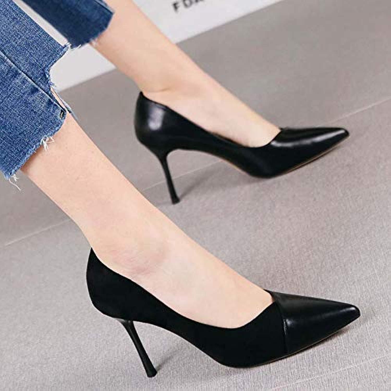 Pumps Pumps Joker Spitze Stiletto Heels Damen Temperament Wildleder Naht flachen Mund professionelle Schuhe, 39, schwarz