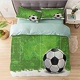 Juego de funda de edredón completa, diseño de campo de fútbol de 6 yardas, ultra suave y fácil de cuidar, transpirable, acogedor y simple, juego de cama