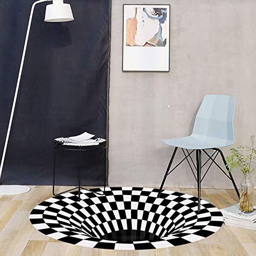 WGFGXQ 3D Visual Vortex Carpet Carpet Black White Plaid Optical Illusion Rug Round Vortex Ilusion Carpet 3D Trap Waterproof Anti-Slip Anti-Dirt for Kitchen Floor Corridor Living Room Changing Car B1#
