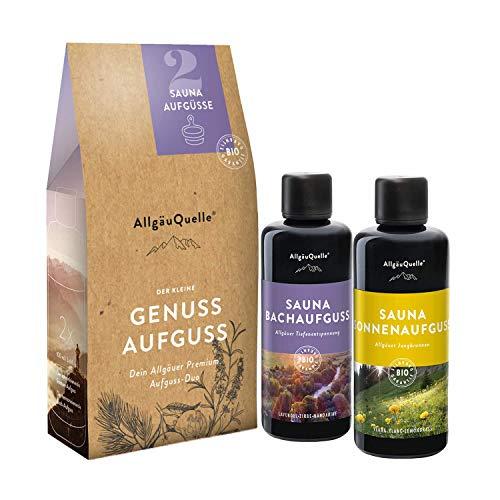 AllgäuQuelle Saunaaufguss-Set mit 100{a3b5537a72e3fe185c0394e9af1b04c5d8e1d0d2974860b51dfe053907af7fe6} BIO Sauna Aufgussmittel 2x100ml | Zwei Saunaaufgüsse enthalten | Das Sauna Zubehör | Sauna aufguss in 2 Düften | Bio-Saunaöl-Set | Erlebe das Bio-Saunaduft Set.