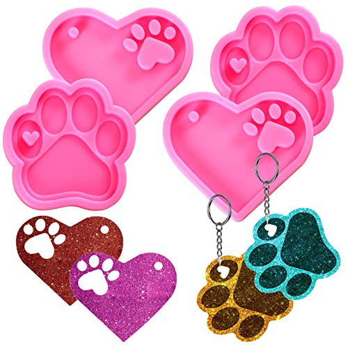 Pendolr 4 Pcs Heart Bear Paw Candy Chocolate Fondant Molds Love Paw Print Key chain Silicone Resin Molds for DIY Bag Tag Sugar craft Polymer Clay Cake Decorating