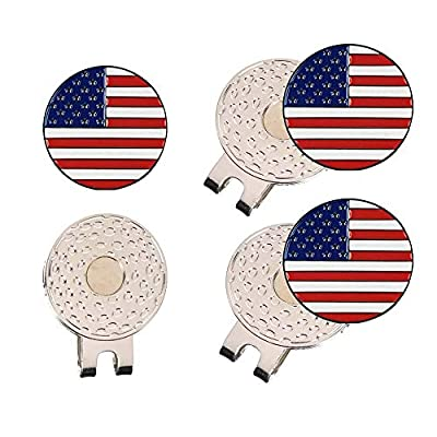 HOW TRUE Golf Ball Marker USA Flag Ball Markers State Flag Ball Markers, 9 Golf Ball Marker with 3 Standard Hat Clip with Magnet