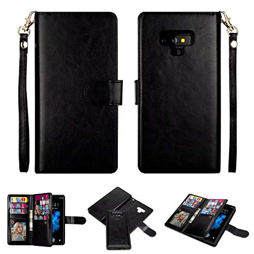 Galaxy Note 9 Wallet Case, SUPZY Leather Detachable Magnetic Flip 9 Card Slots Holder Wrist Strap Purse Removable Slim Protective Cover for Samsung Galaxy Note 9 (2018) 6.4 inch (Black)