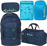 Satch Pack Space Race 5er Set Schulrucksack, Sporttasche, Schlamperbox, Heftebox & Regencape blau