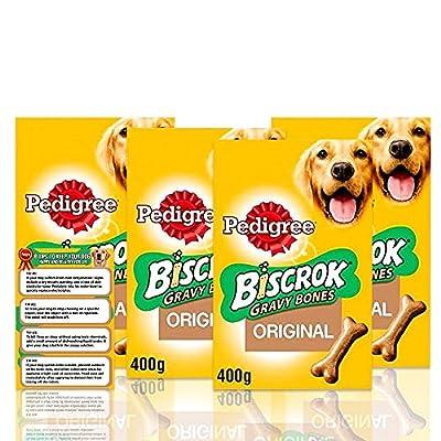 Pedigree Biscrok Gravy Bone Low In Fat Dog Biscuits 400g - Dog Treats + Dog Care Tips Flyer - Pack of 4
