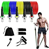 STYLEZONE 11 Pack Resistance Bands Set Portable Exercise Bands Workout Bands Stretch Fitness Set for Physical Therapy Training Includes 5 Resistance Bands, Door Anchor, Ankle Straps, Carrying Case