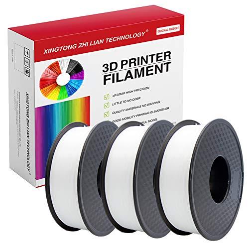 Filamento PLA para impresora 3D de 1,75 mm, filamento de impresión 3D PLA para impresora 3D y bolígrafo 3D, precisión dimensional +/- 0,02 mm, 1 kg 1 bobina(3Pcs Blanco)