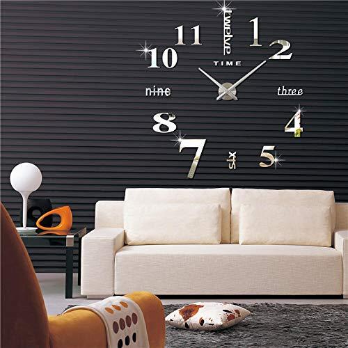 Reloj de pared moderno, 3D, grande, autoadhesivo, para decoración del hogar, reuniones o habitaciones, moderno, reloj colgante, color plateado