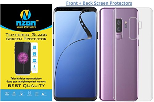 nzon™ Samsung Galaxy S9 Plus Screen Protector Front and Back [Edge to Edge] [Full Coverage][Curved] [Anti Fingerprint][Screen Film] Screen Protector for S9 Plus (Pack of 2) - Black and Clear