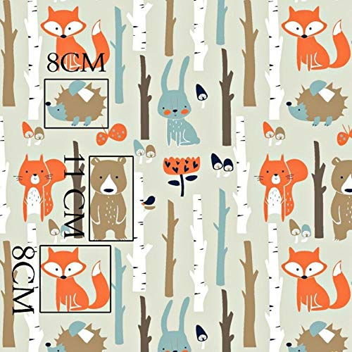 100% Baumwolle Baumwollstoff Kinder Kinderstoff Meterware Handwerken Nähen Stoff Tiermotiv 100x160cm 1 Meter (Tiere Wald Beige)