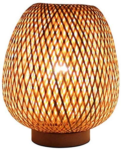 GYC Lampada da Tavolo Lanterna Stile retrò, Paralume in bambù, Camera da Letto Soggiorno Lampada da scrivania Lampada da Comodino Sala da tè Sala da Pranzo Lampada di bambù,