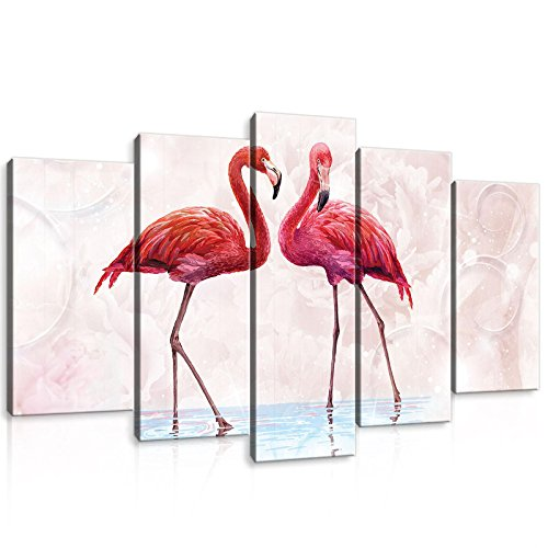 Welt-der-träumewandbild Lot Canvasbild Lot de photo sur toile d'impression de toile de | Rose flamants roses | | Photo sur toile d'impression Ensemble de 10199 _ Ps17-ms | Nature Animal Animals Bird Birds Flamingo, S17 (100x60 (1x60x20, 2x50x20, 2x40x20))