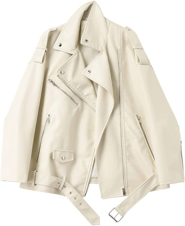 PDGJG Loose Solid Color PU Leather Jacket Lapel Long Sleeve Women's Jacket Fashion, Spring and Autumn Coat (Color : A, Size : Large)