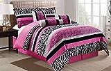 Grand Linen 5 Piece Oversize HOT Pink Black White Zebra Leopard Micro Fur Comforter Set Twin Size Bedding - Teen, Girl, Youth, Tween, Children's Room, Master Bedroom, Guest Room