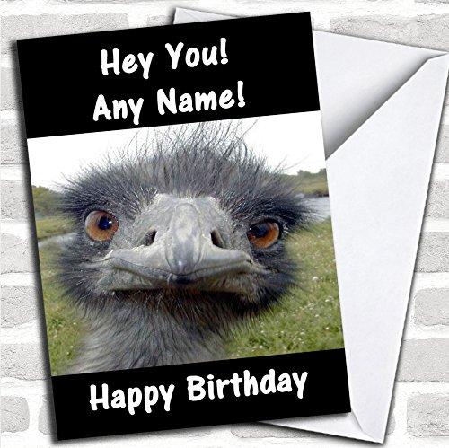 Grappige struisvogel verjaardagskaart met envelop, volledig gepersonaliseerd, snel en gratis verzonden