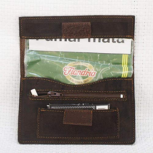 Bolsa de piel para tabaco de liar, pitillera color marrón envejecido. Tabaquera de cuero
