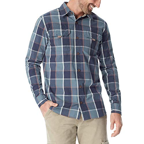 Wrangler Authentics Men's Long Sleeve Canvas Shirt, stormy weather plaid, XL