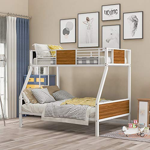 Merax Twin-Over-Full Steel Frame Bunk Bed, Modern Style Bunk Bed with Safety Rail, Built-in Ladder for Bedroom, Dorm, Boys, Girls, Adults (White)