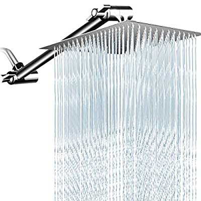 PinWin 10 Inches Rain Shower Head with 13 Inches Adjustment Extension Arm,Large Square High Pressure - Stainless Steel Rainfall Showerhead(Chrome)