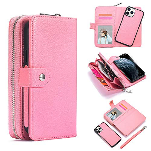For iPhone 12 Mini Hülle Schutzhülle Ledertasche Leder Wallet Handyhülle Geldbörse mit Grosse Kapazität Reißverschluss,Kartenfächer und Abnehmbar Magnet Handy Schutzhülle für iPhone 12 Mini 5.4 - Rosa