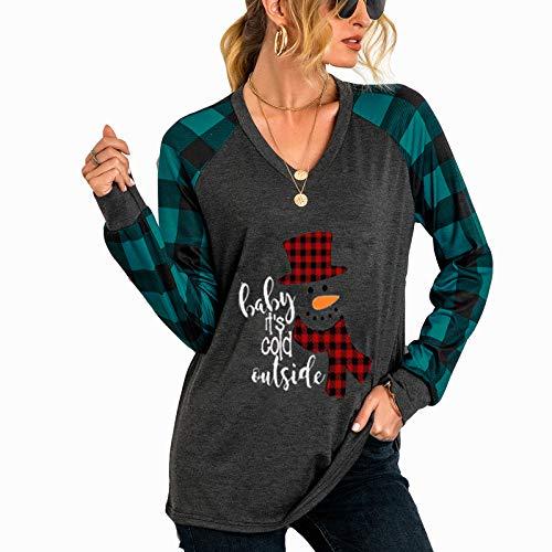 Camisetas femininas de Natal divertidas de Natal listradas com manga comprida e gola V, Chapéu ciano, M