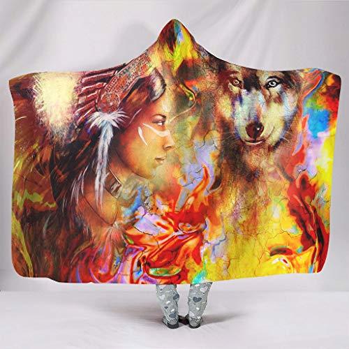 DOGCATPIG Sudadera de microfibra estándar de gran tamaño con capucha para niña india y lobo original unisex para una talla única para todos los blancos 127 x 152 cm
