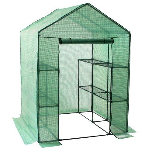 Zelsius Foliengewächshaus, stabiles Tomatengewächshaus mit Regal, Tomatenhaus, Folien Treibhaus, Frühbeet für Tomaten, Gemüse, Obst, Blumen, Garten, Balkon, 195 x 143 x 143 cm, grün