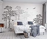 Murales Papel Pintado, Árbol abstracto bosquejo blanco y negro Fotomural para Paredes Mural Vinilo decorativo 200x140cm decoración comedores, Salones, Habitaciones