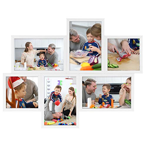 SONGMICS Bilderrahmen-Collage für 6 Fotos, Fotorahmen, 4 Fotos in 10 x 15 cm (4 x 6 Zoll), 2 Fotos in 10 x 10 cm (4 x 4 Zoll), Wanddekoration, modern, weiß RPF28WT