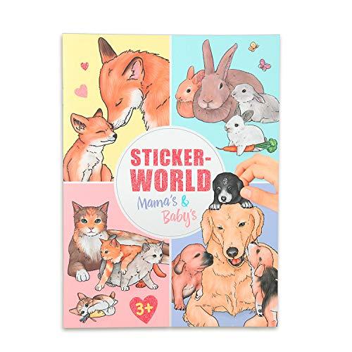 Depesche 11403 Stickerworld Malbuch Mamas und Babys, mit Tieren und Tierkindern, ca. 18 x 24,5 x 0,5 cm
