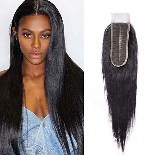 Maxine Long Middle Part 2x6 Lace Closure Silky Straight Human Hair Deep Part Lace Closure with Baby Hair for Women Natural Color (20 inch£¬2x6closure)