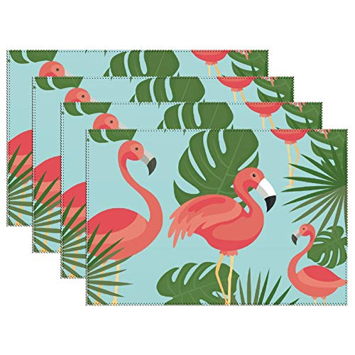 Yilooom Set of 6 Heat Resistant Stain Insulation Place Mats Anti-Skid Washable Canvas Table Placemats 12 X 18 Inch, Flamingo Bird Green Leaf