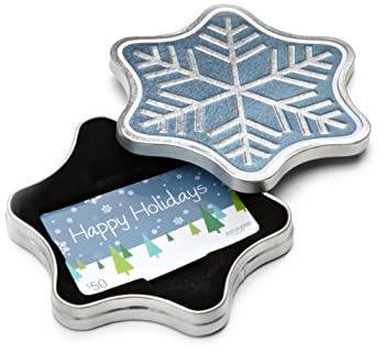 Amazon.com $50 Gift Card in a Snowflake Tin  Happy Holidays Card Design