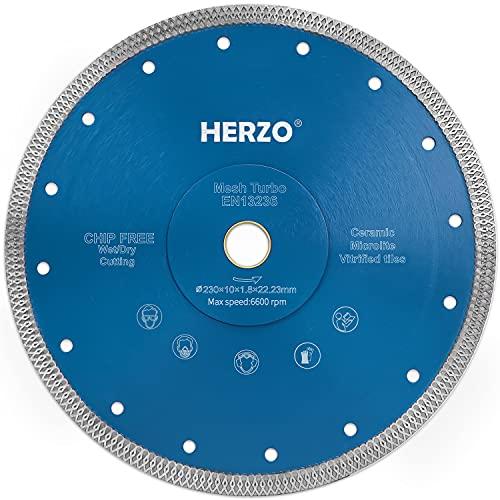 HERZO Disco da taglio diamantato 230 mm, per il taglio di gres porcellanato, granito, marmo, ceramica