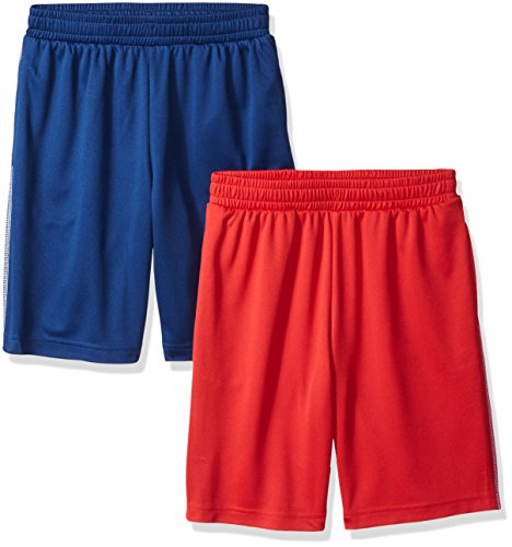 Amazon Essentials Kids Boys Active Performance Mesh Basketball Shorts, 2-Pack Red/Navy, Large