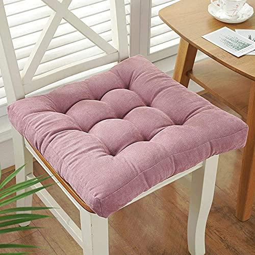 KJHGK Cojín cuadrado para el suelo, suave, grueso, para yoga, meditación, pana y tatami, piso, cojín de lectura, cojín para silla para adultos y niños, balcón, rosa, 50 x 50 cm